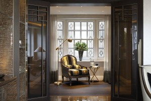 Casa Forma Luxury Interior Design Kensington Gardens Reception Gold Armchair And Pendant Floor Lighting