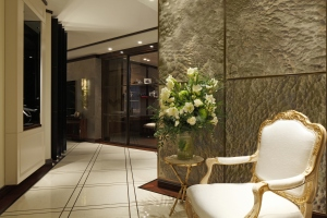 Casa Forma Luxury Interior Design Flowers On Side Table In Hallway Entrance