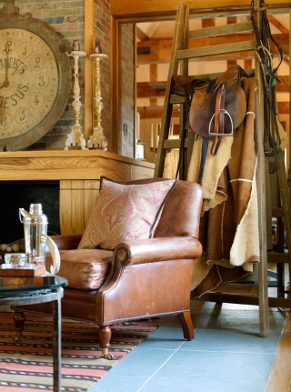 casa forma billingbear polo club tan brown colonial leather armchair