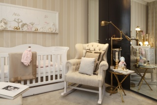 casa forma mayfair luxury nursery cream rocking chair and cradle